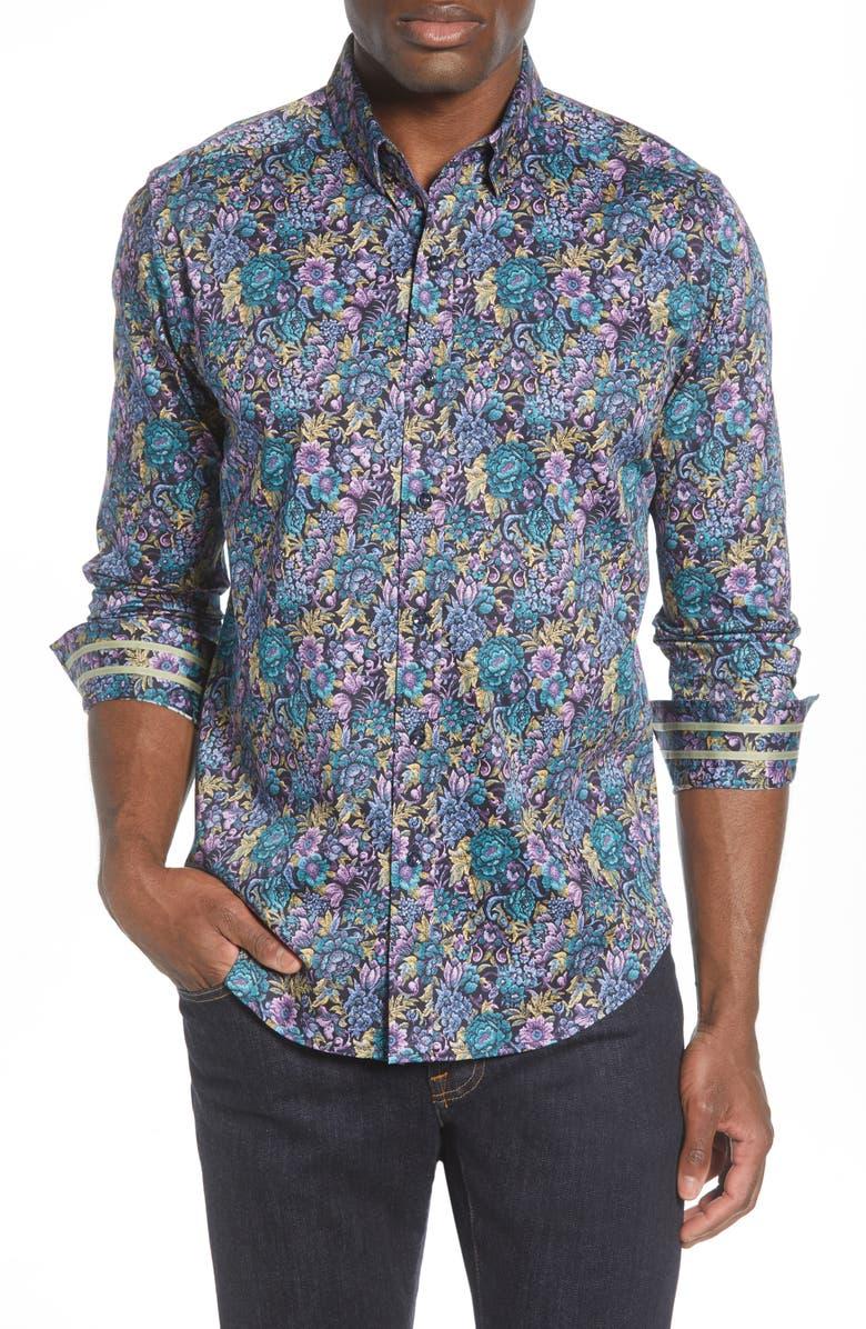 ROBERT GRAHAM Foster Regular Fit Floral Button-Up Shirt, Main, color, PURPLE