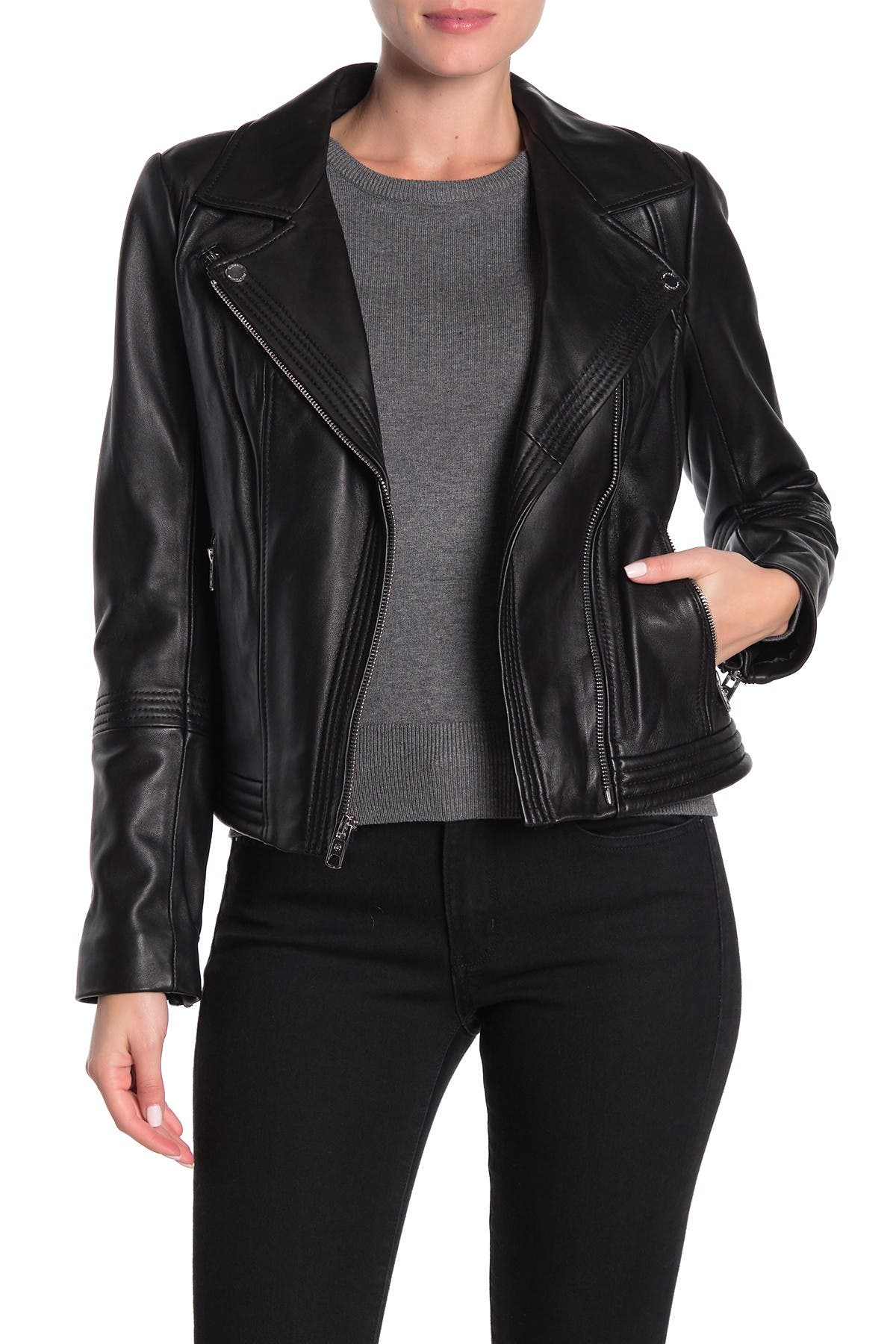 Image of MICHAEL Michael Kors Missy Asymmetrical Zip Leather Moto Jacket
