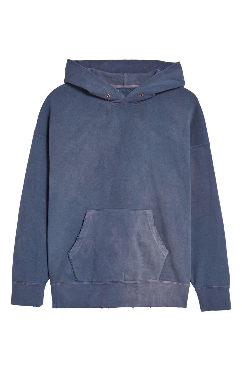 VISVIM Jumbo Uneven Dye Pullover Hoodie, Main, color, NAVY