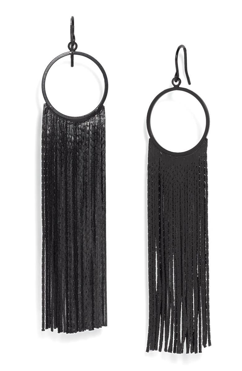TARNISH 'Brushed Metals' Circle Drop Fringe Earrings, Main, color, 001
