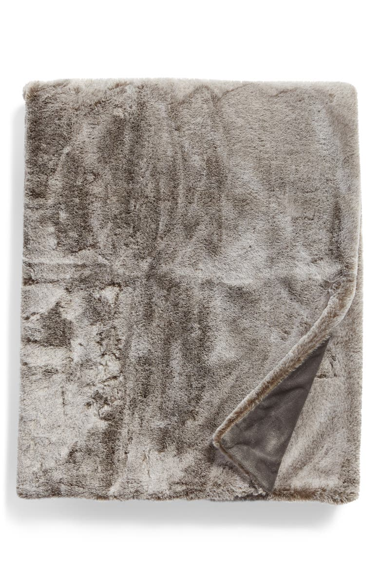 NORDSTROM Faux Mink Fur Throw Blanket, Main, color, GREY ONYX MULTI
