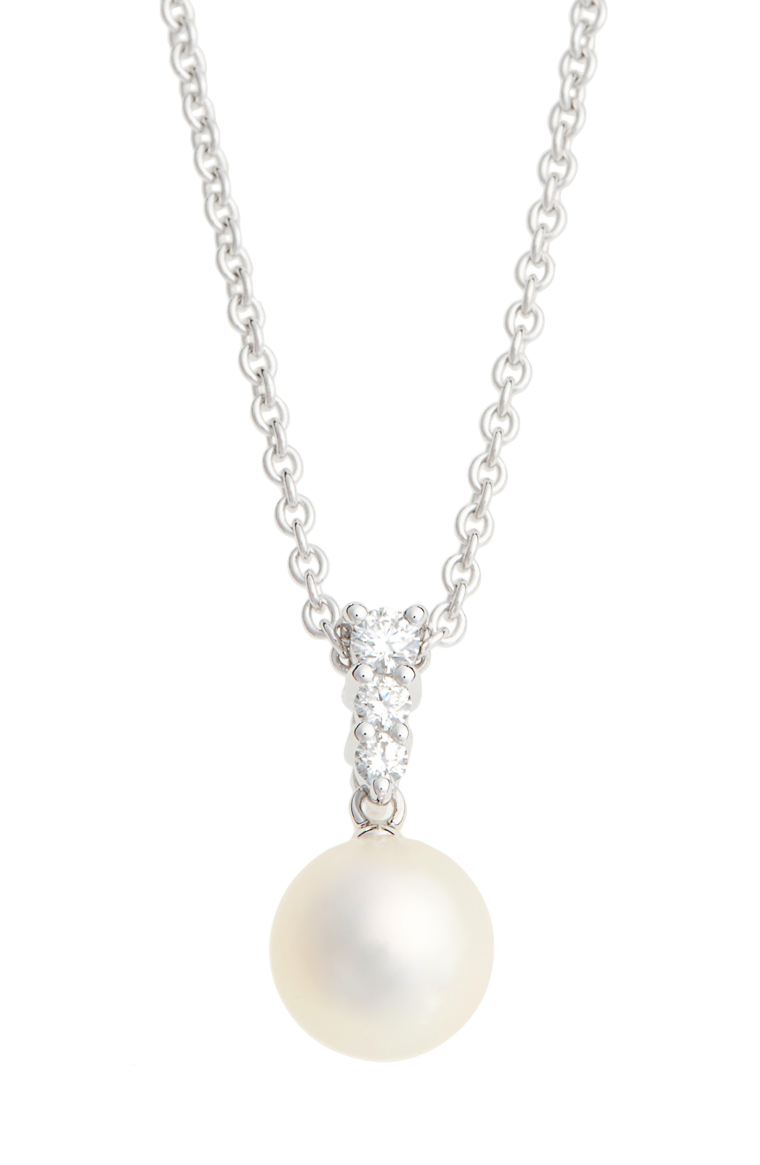 'Morning Dew' Akoya Cultured Pearl & Diamond Pendant Necklace