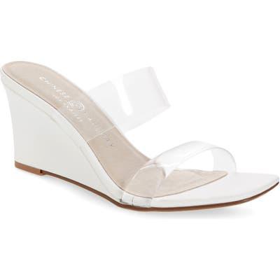 Chinese Laundry Tann Wedge Slide Sandal, White