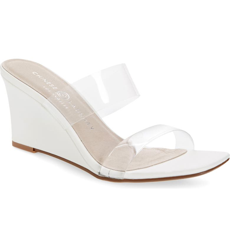 CHINESE LAUNDRY Tann Wedge Slide Sandal, Main, color, WHITE FAUX LEATHER
