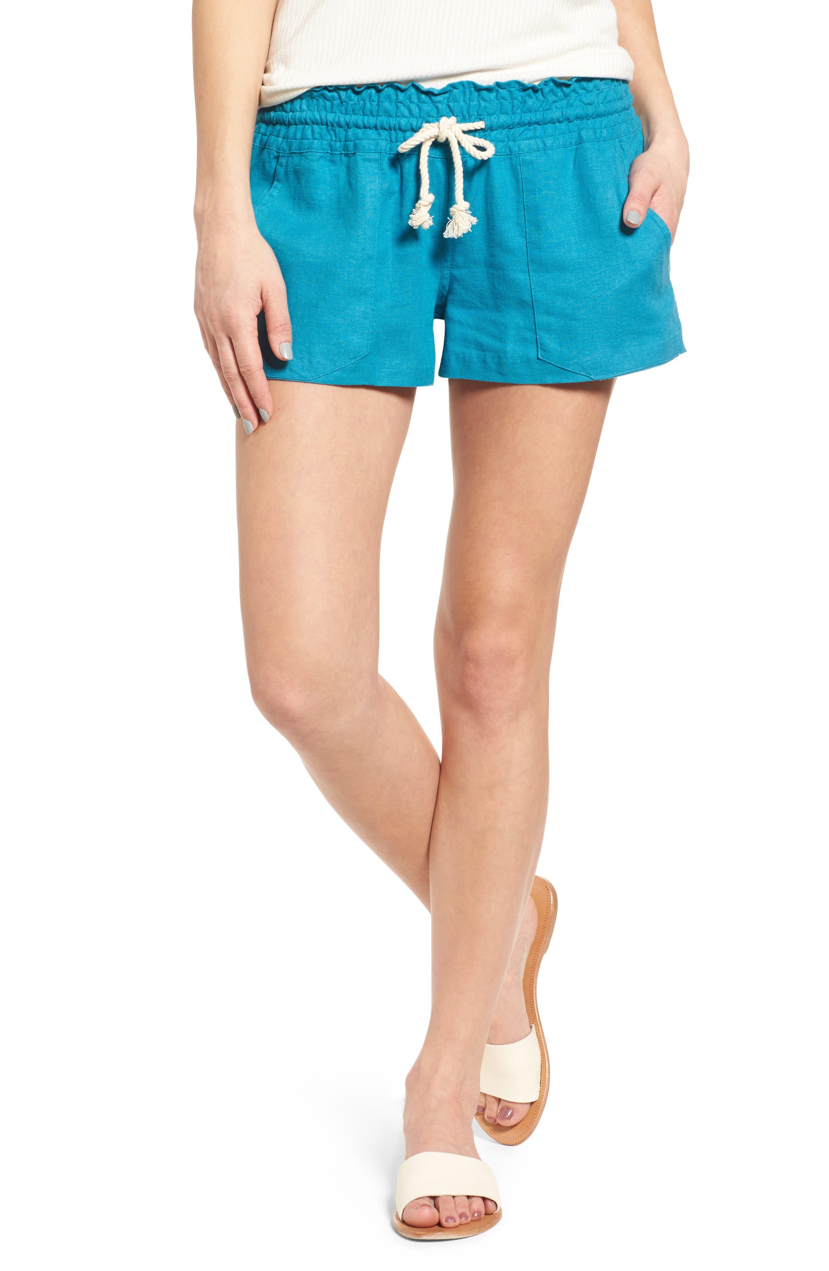 ,                             'Oceanside' Linen Blend Shorts,                             Main thumbnail 31, color,                             421