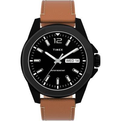 Timex Essex Avenue Leather Strap Watch, 4m