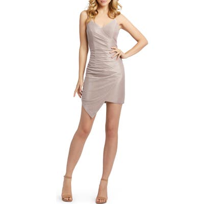 MAC Duggal Shimmer Asymmetrical Minidress, Pink