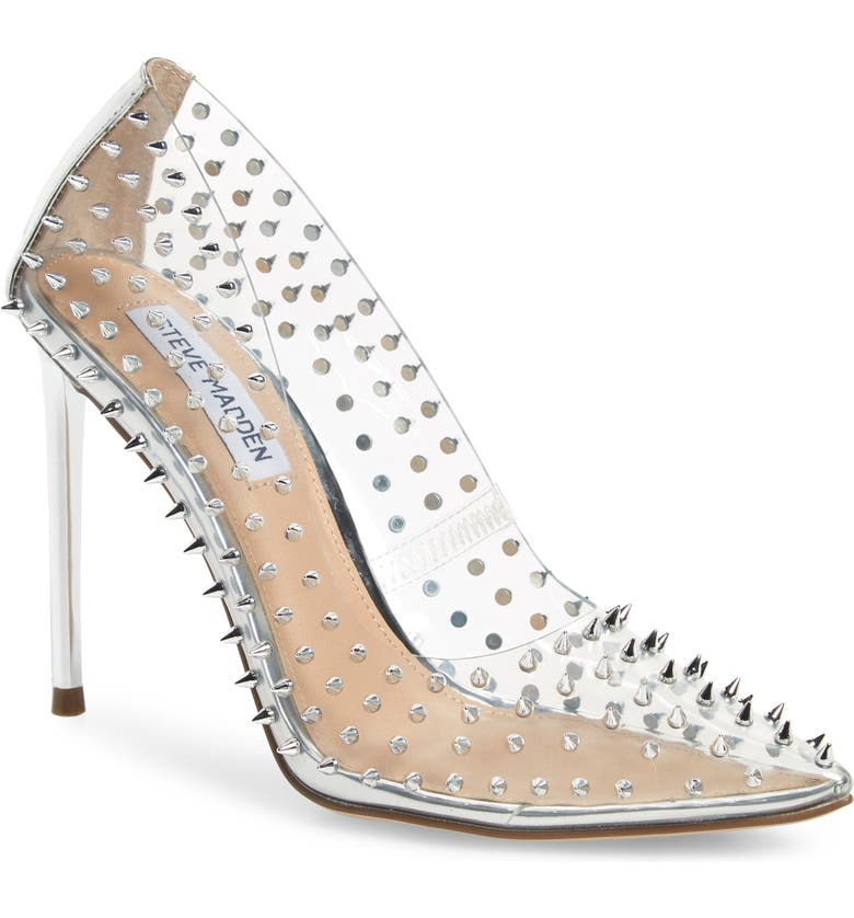 STEVE MADDEN Vala Spiked Pointed Toe Pump, Main, color, CLEAR