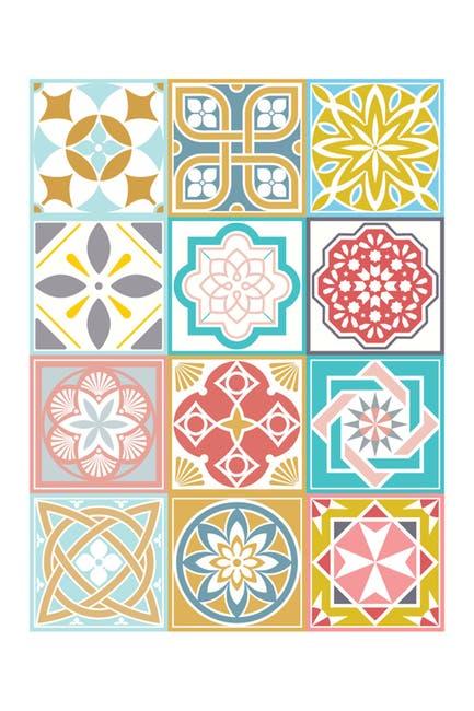 Image of WalPlus Malia Colourful Tiles Mix Wall Stickers