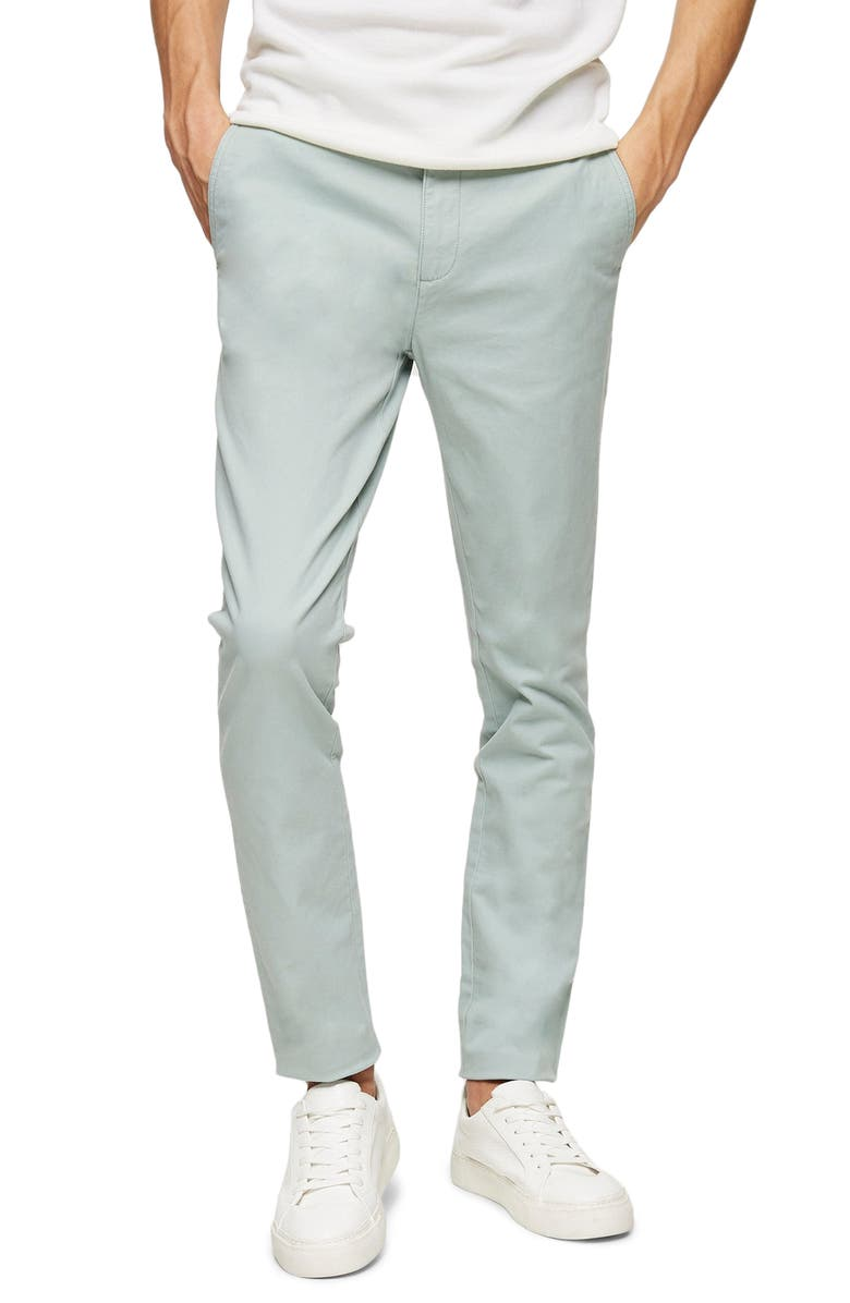 TOPMAN Stretch Skinny Fit Chinos, Main, color, SAGE GREEN