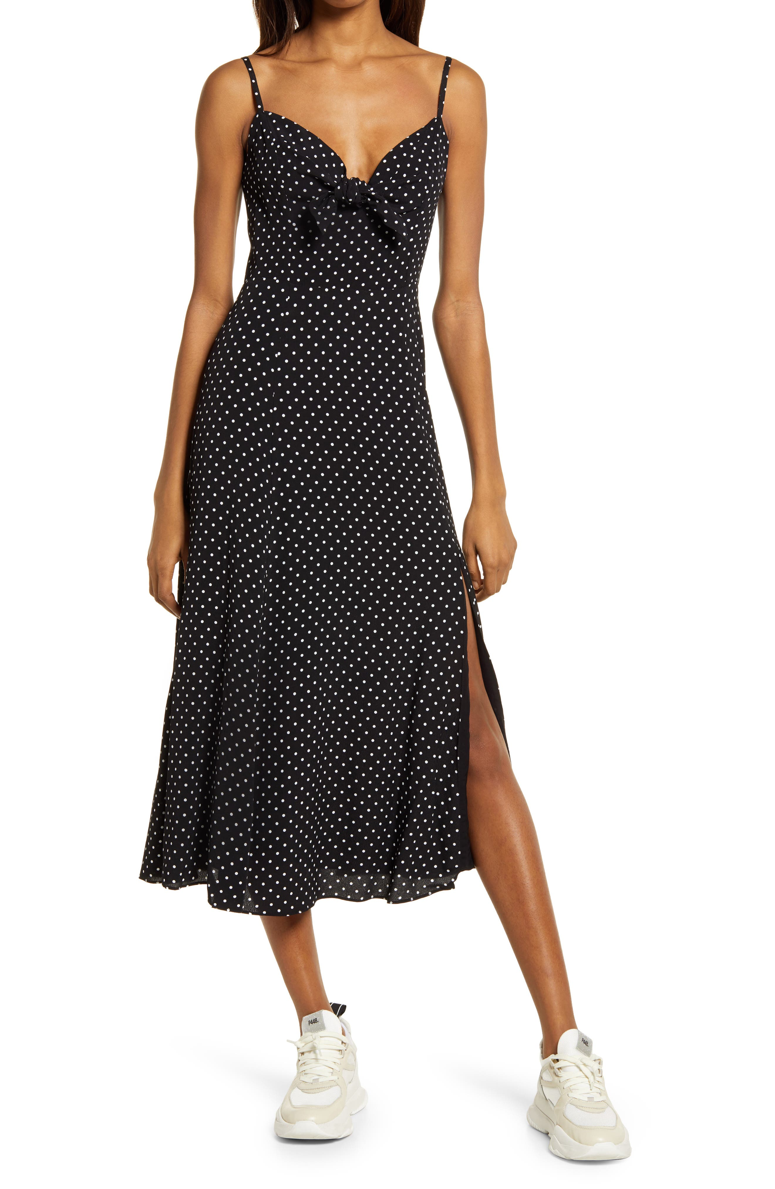 Clementine Polka Dot Tie Front Midi Dress