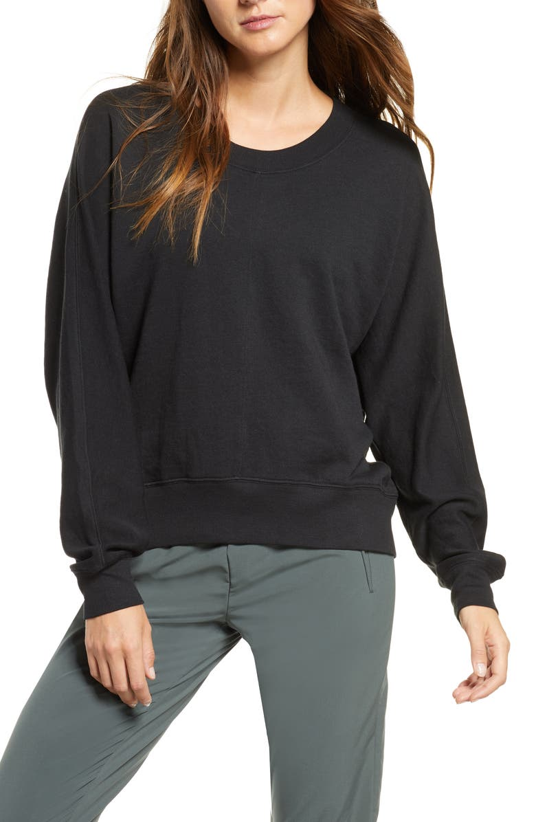 ZELLA Carey Crew High/Low Sweatshirt, Main, color, BLACK
