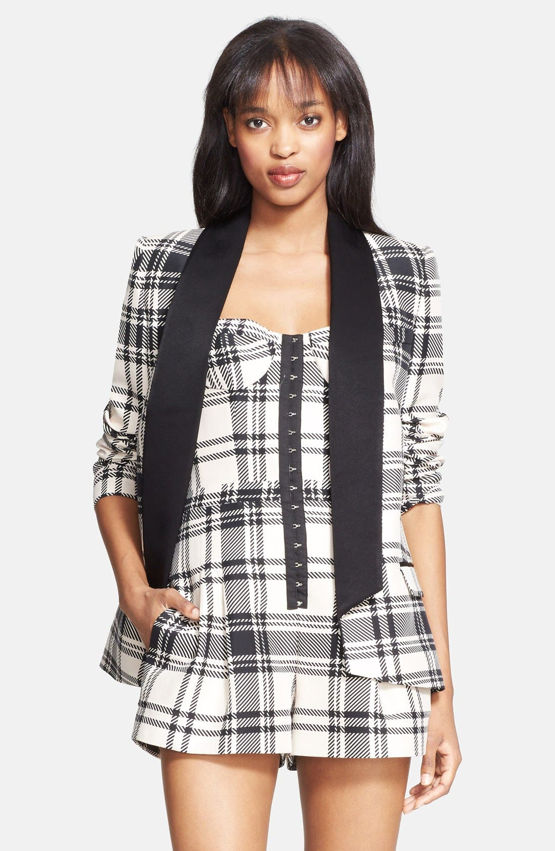 ,                             Plaid Satin Back Crepe Blazer,                             Main thumbnail 1, color,                             900