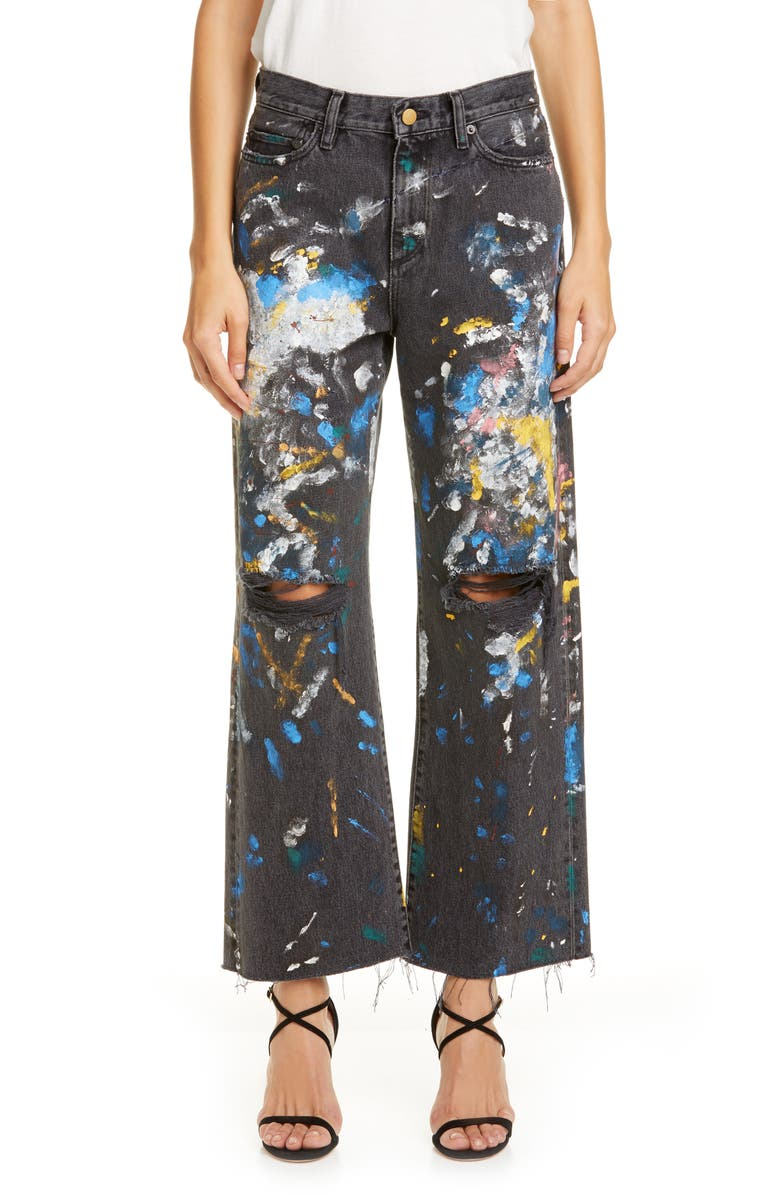 SIMON MILLER Paint Splatter Wide Leg Crop Jeans, Main, color, PAINT SPLATTER