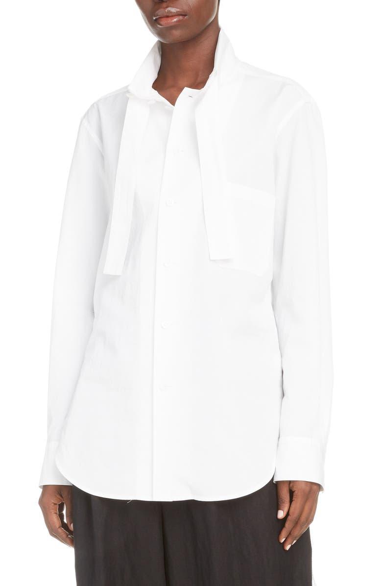 Y'S BY YOHJI YAMAMOTO Tie Detail Cotton Poplin Shirt, Main, color, 100