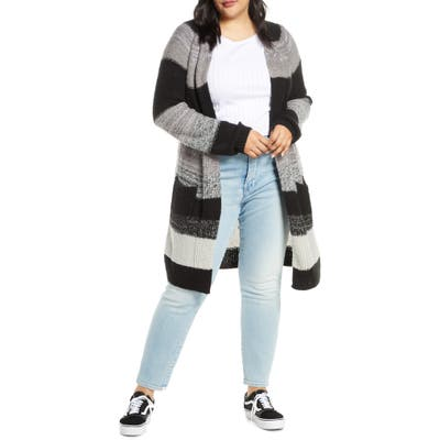 Plus Size Bp. Bold Stripe Longline Cardigan, Black