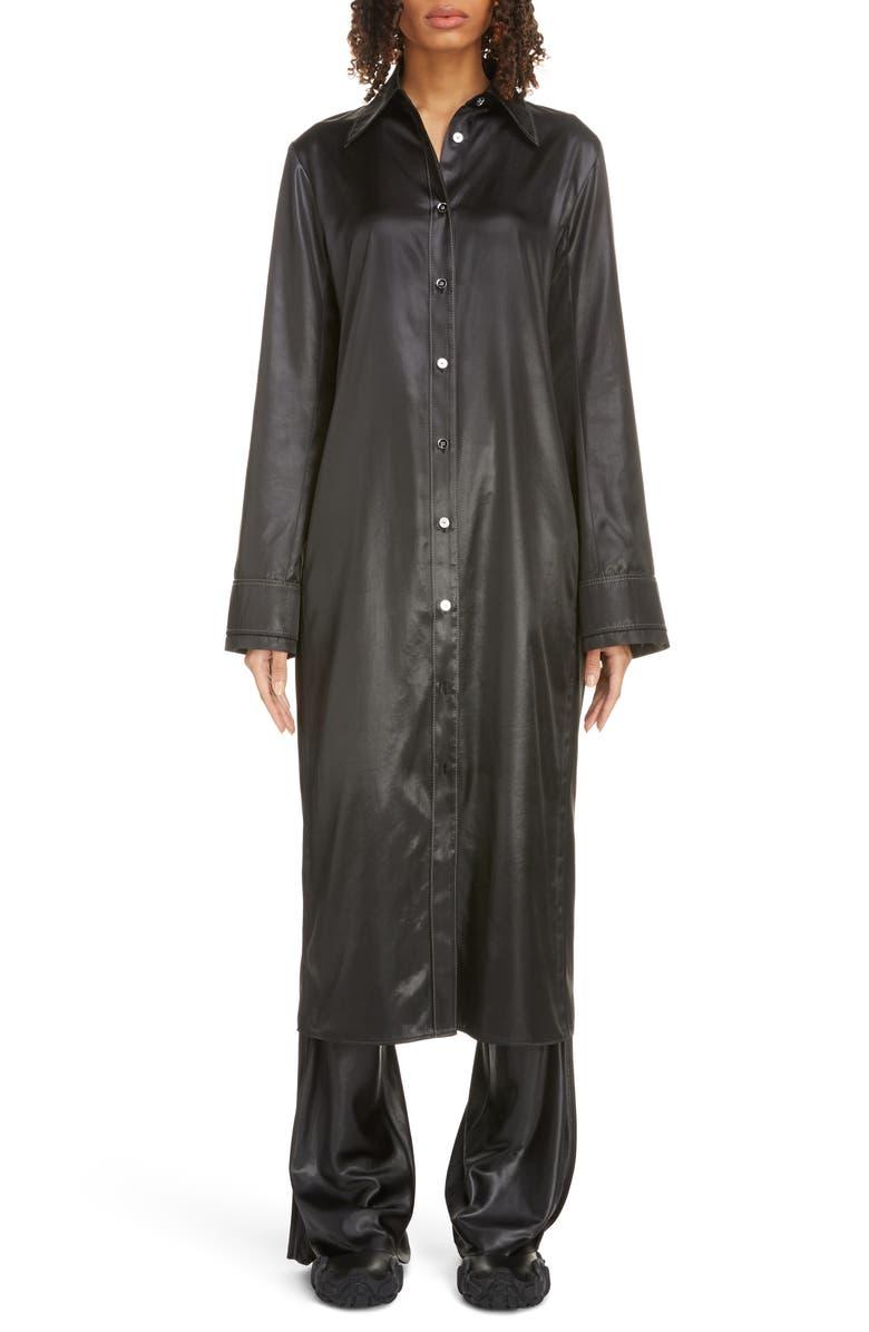 ACNE STUDIOS Dimara Tech Long Sleeve Satin Midi Shirtdress, Main, color, BLACK