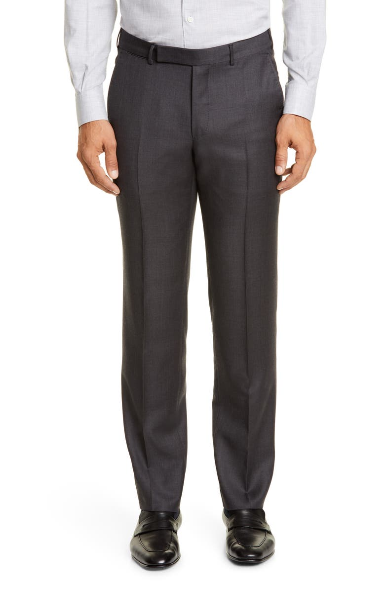 ERMENEGILDO ZEGNA Achilfarm Flat Front Solid Wool & Silk Dress Pants, Main, color, CHARCOAL
