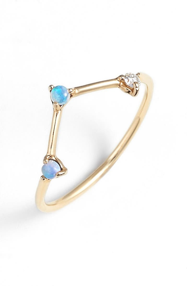 WWAKE Counting Collection Three-Step Triangle Opal & Diamond Ring, Main, color, YELLOW GOLD