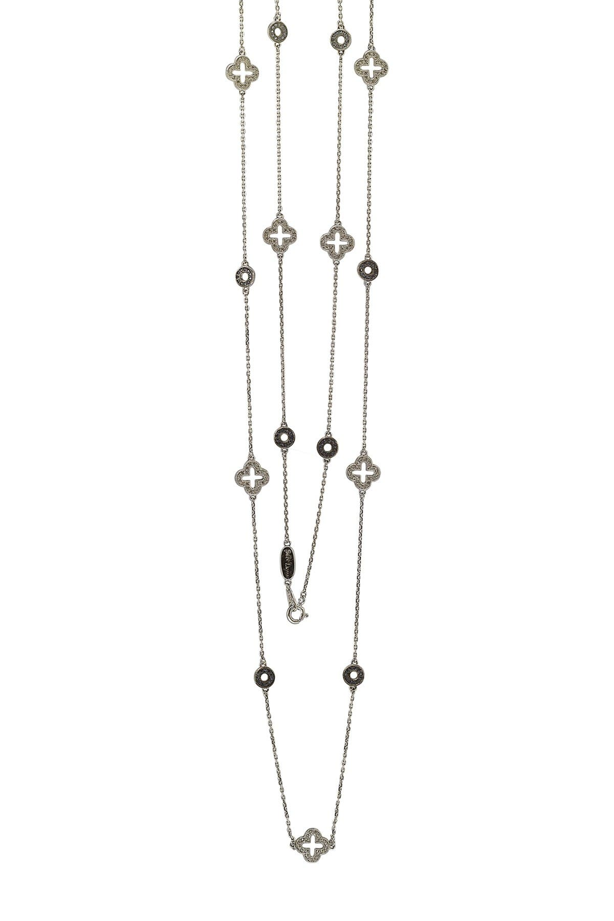 Image of Suzy Levian Sterling Silver Sapphire & Diamond Accent Station Necklace - 0.02 ctw
