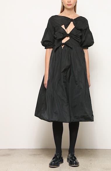Sandra Tied Taffeta Midi Dress, video thumbnail