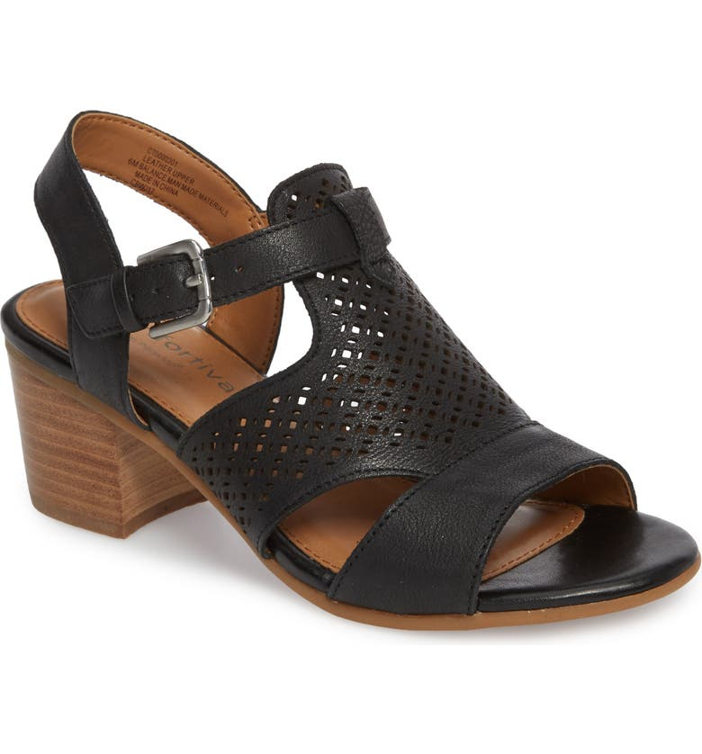 COMFORTIVA Amber Perforated Block Heel Sandal, Main, color, BLACK LEATHER