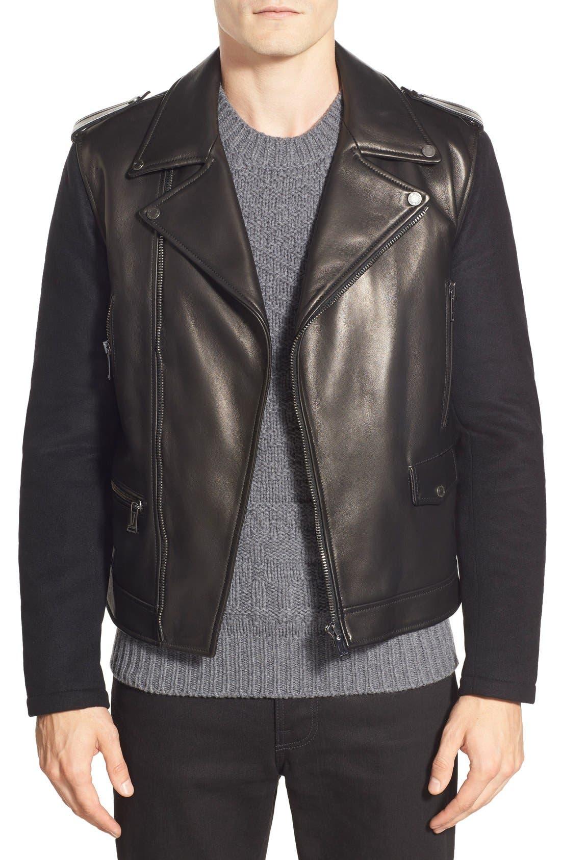 ,                             Melton Sleeve Leather Jacket,                             Main thumbnail 1, color,                             001