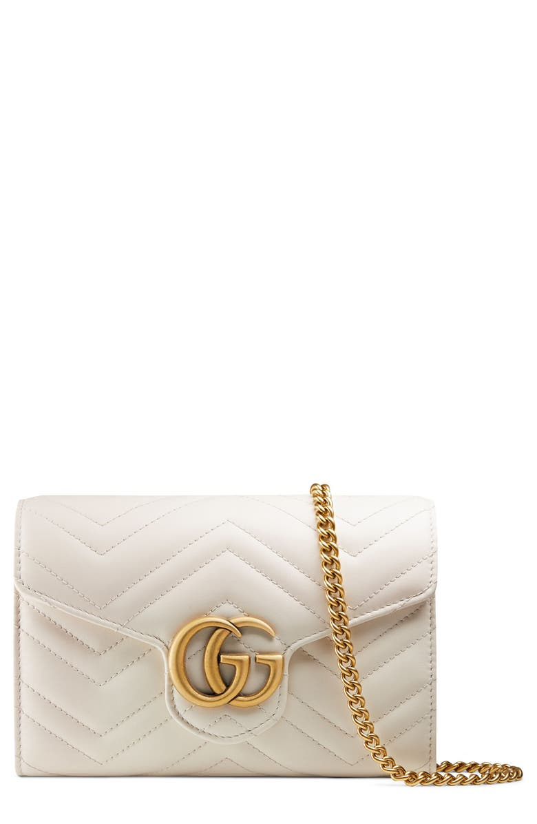 GUCCI GG Marmont Matelassé Leather Wallet on a Chain, Main, color, MYSTIC WHITE/ MYSTIC WHITE