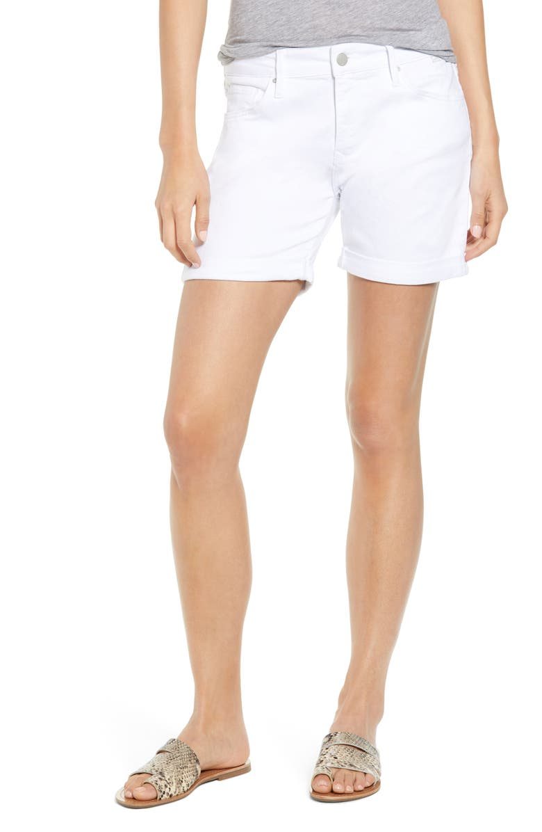 MAVI JEANS Pixie Cuffed Denim Shorts, Main, color, WHITE TRIBECA