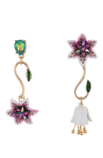 Image of Betsey Johnson Mismatched Lily Flower Drop Earrings