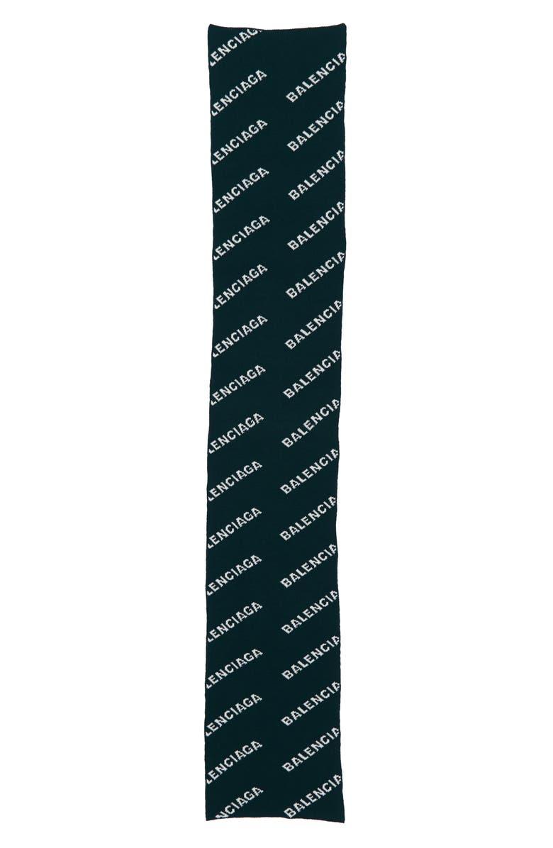 BALENCIAGA Logo Wool Blend Scarf, Main, color, FOREST GREEN/ WHITE