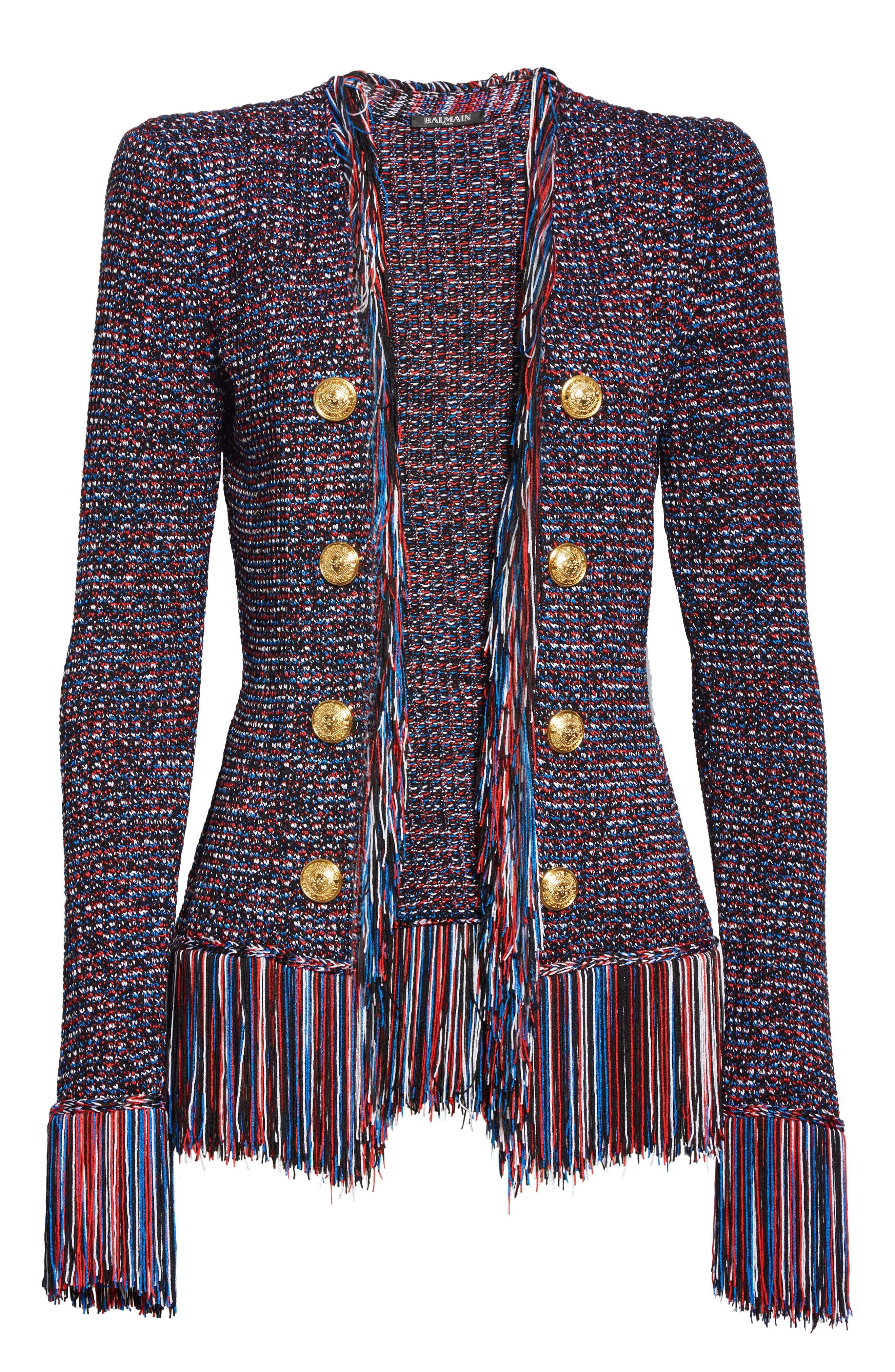 ,                             Fringe Trim Tweed Jacket,                             Alternate thumbnail 6, color,                             EBJ NOIR/ BLEU/ BLANC