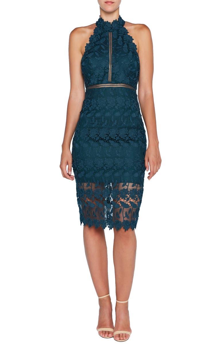 BARDOT Noni Lace Halter Dress, Main, color, 400