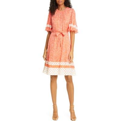 Rebecca Taylor Floral Jacquard Silk Blend Dress, Orange