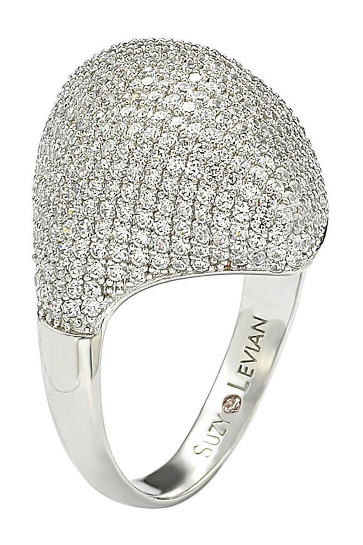 Image of Suzy Levian Sterling Silver Pave CZ Dome Ring