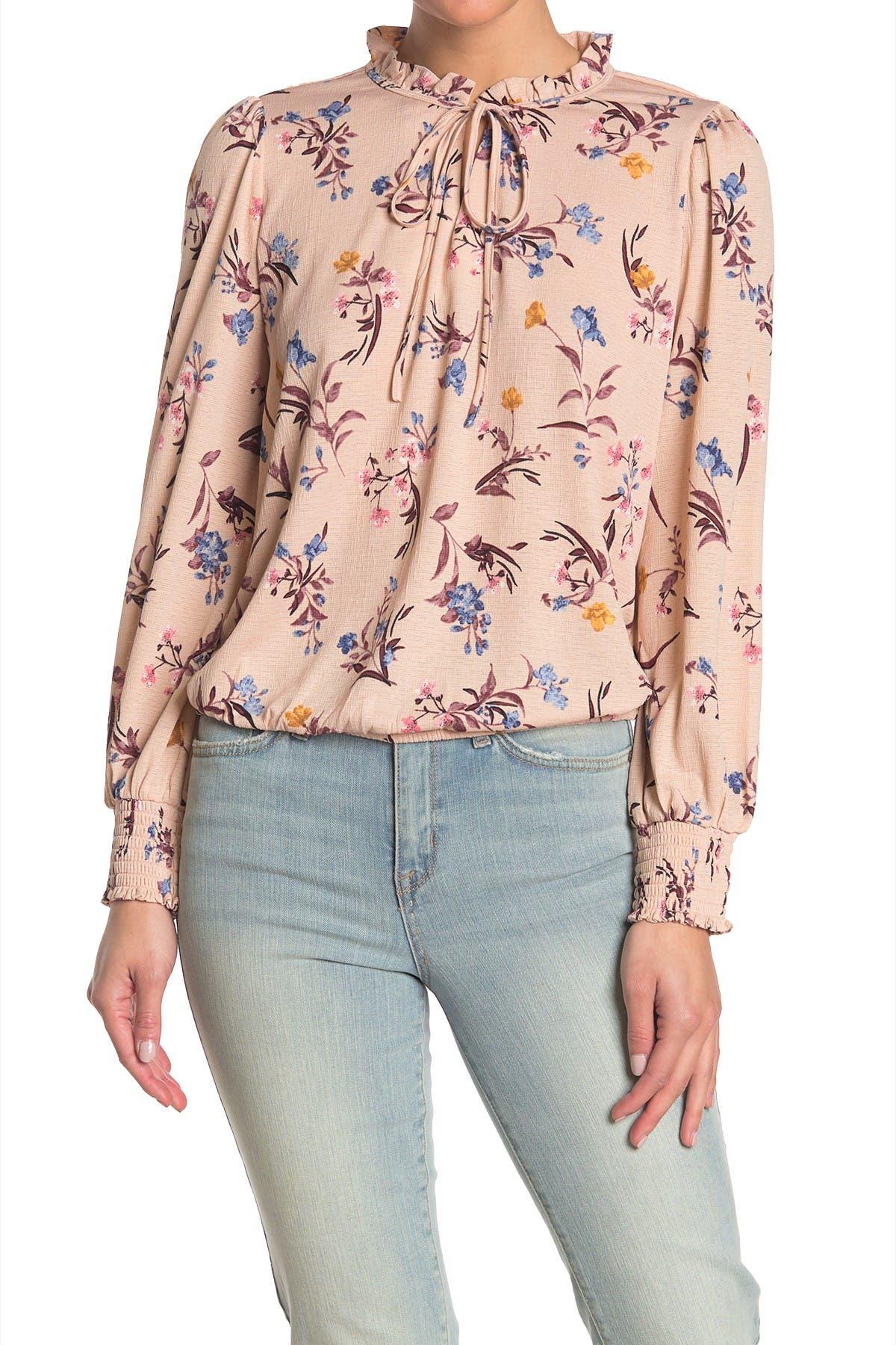 Melloday Floral Print Drawstring Smocked Hem Long Sleeve T-shirt In Light/pastel Red