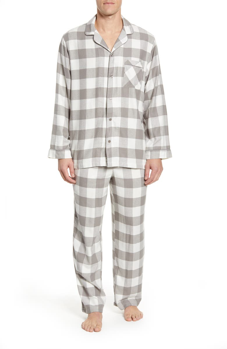 NORDSTROM MEN'S SHOP Family Flannel Pajamas, Main, color, GREY FROST CHECK