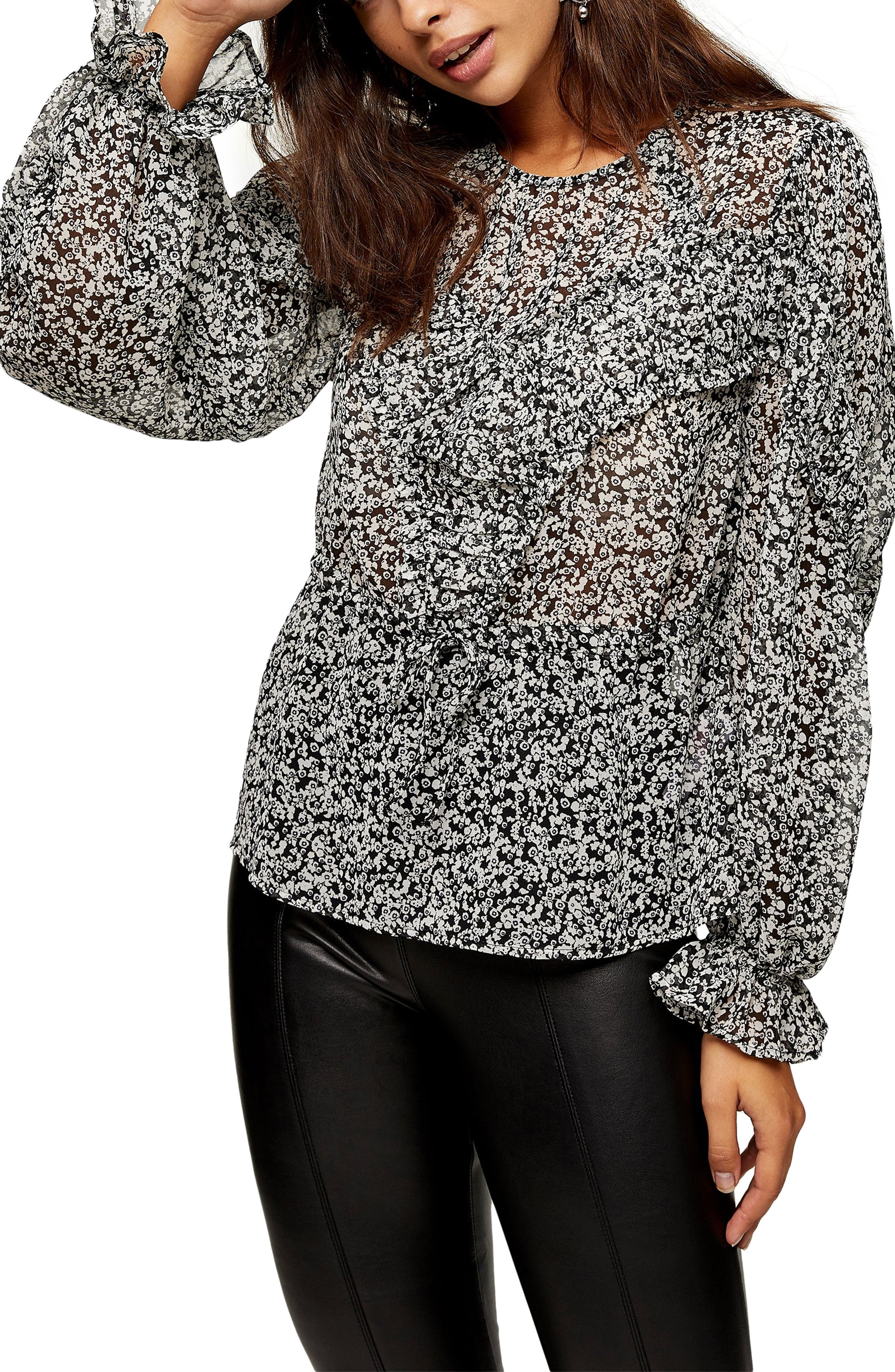 Image of TOPSHOP Floral Ruffle Blouse