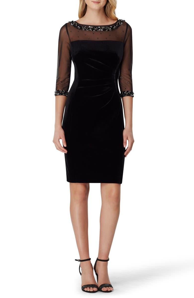 TAHARI Beaded Sheath Dress, Main, color, BLACK