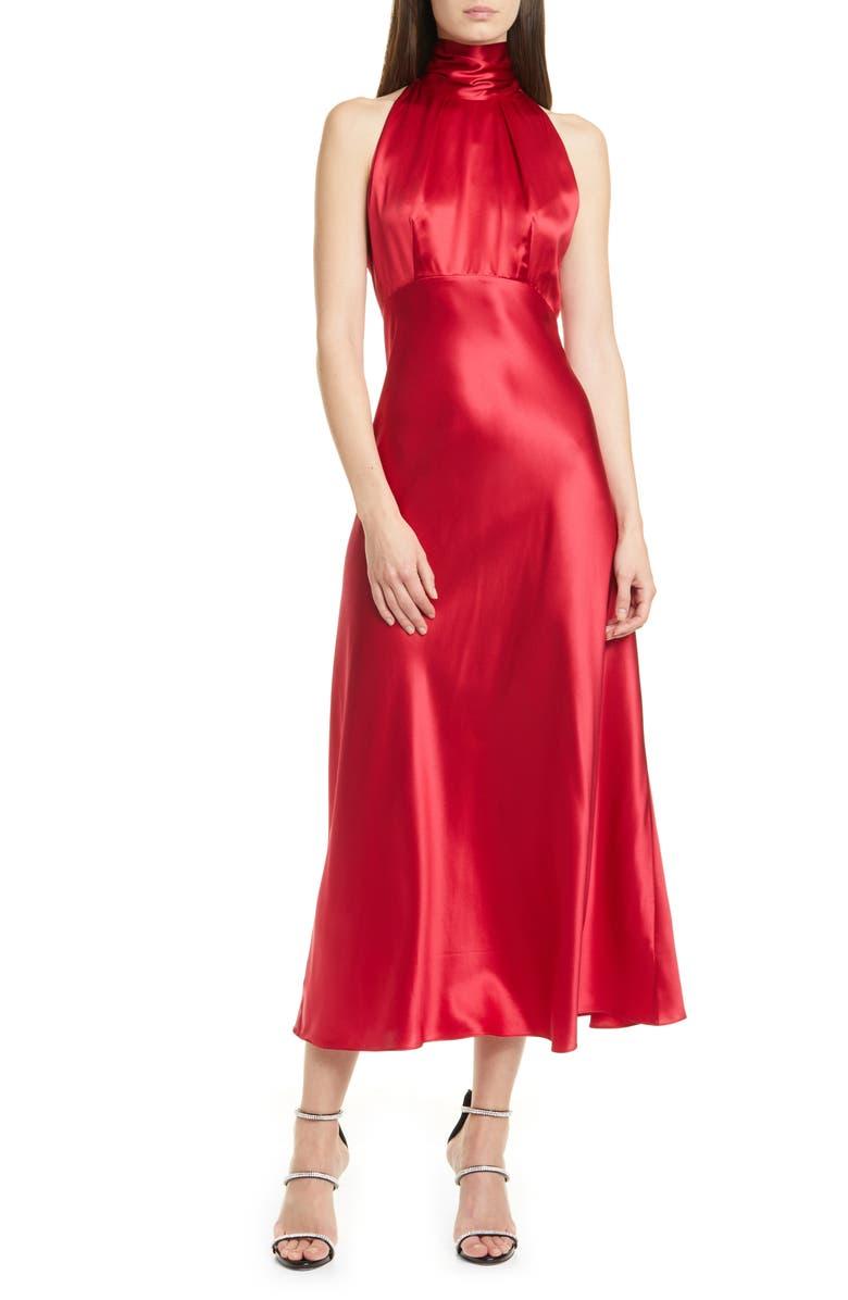 SALONI Michelle Silk Midi Dress, Main, color, CHERRY RED