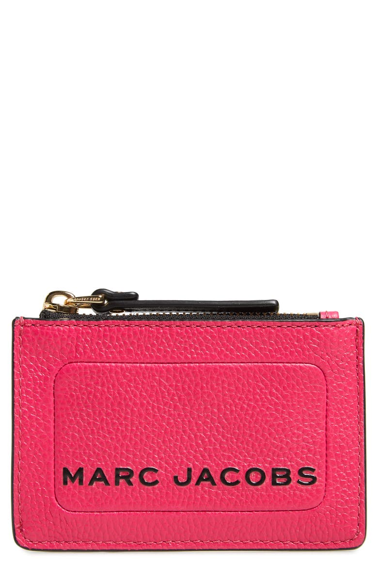 THE MARC JACOBS Logo Leather Zip Card Case, Main, color, DIVA PINK