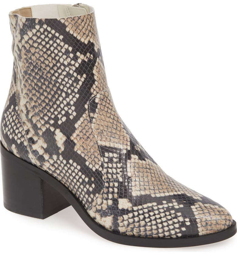 TREASURE & BOND Fern Bootie, Main, color, NATURAL SNAKE FAUX LEATHER