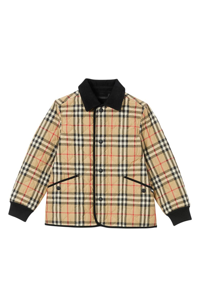 BURBERRY Culford Archive Check Quilted Jacket, Main, color, ARCHIVE BEIGE