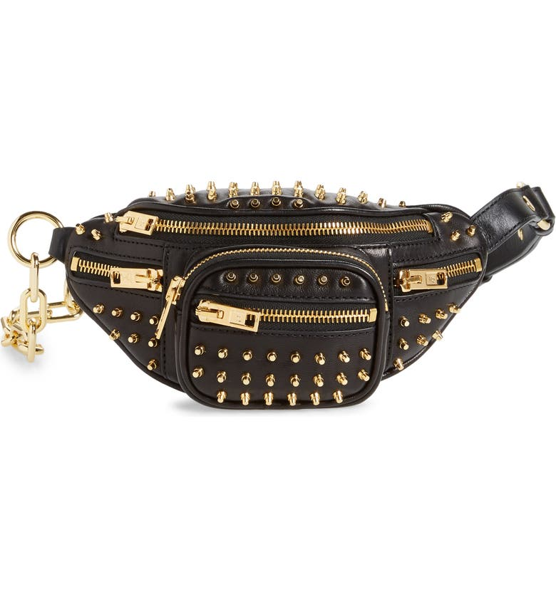 ALEXANDER WANG Mini Attica Stud Leather Fanny Pack, Main, color, BLACK
