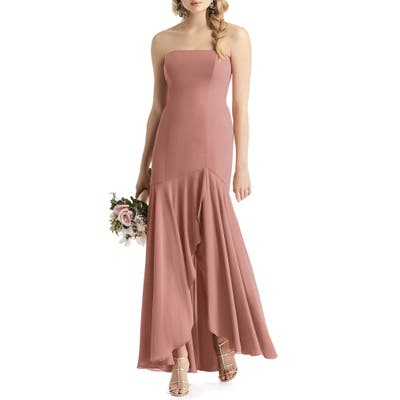 After Six Strapless High/low Matte Chiffon Gown, Pink