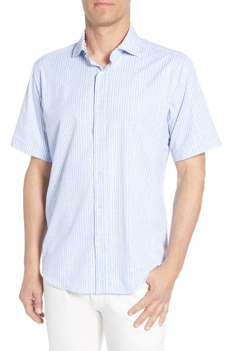 BUGATCHI Classic Fit Stripe Performance Shirt, Main, color, SKY