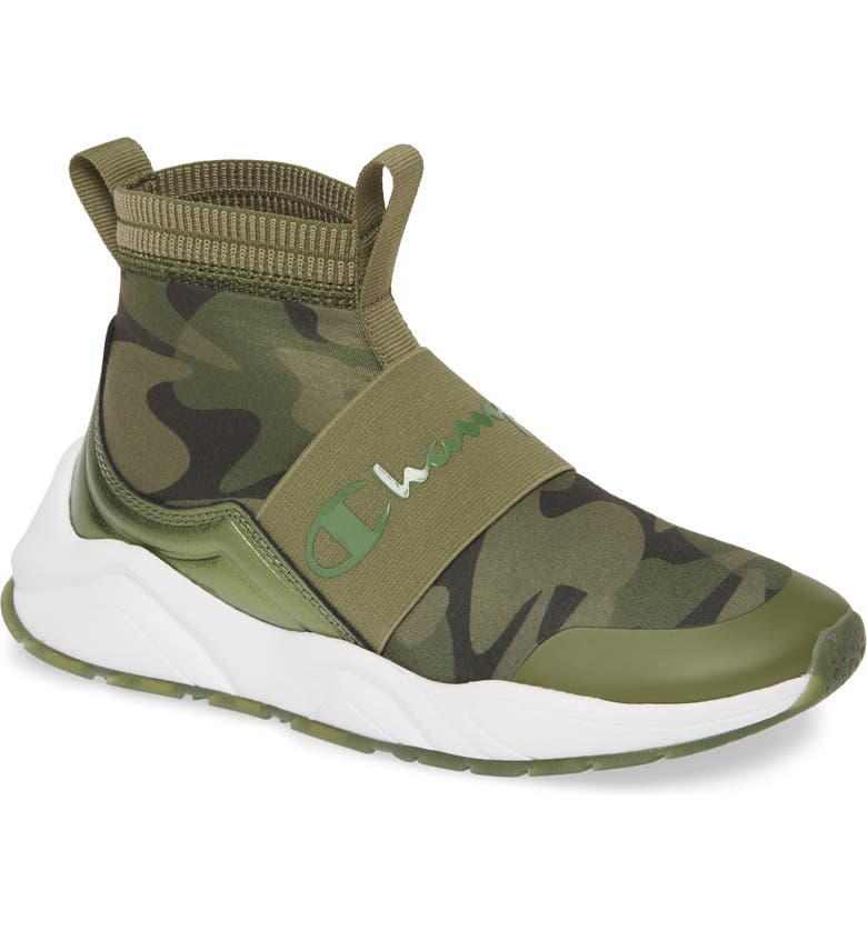 CHAMPION Rally Camo High Top Sock Sneaker, Main, color, 320