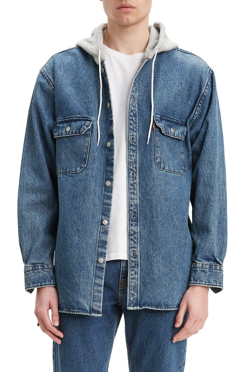 LEVI'S<SUP>®</SUP> Jackson Regular Fit Hooded Denim Overshirt, Main, color, GEAR BOX