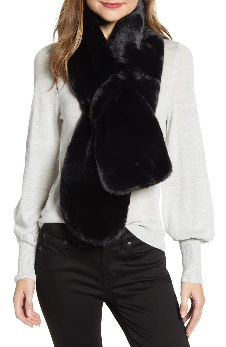 UGG<SUP>®</SUP> Faux Fur Pull Through Scarf, Main, color, BLACK