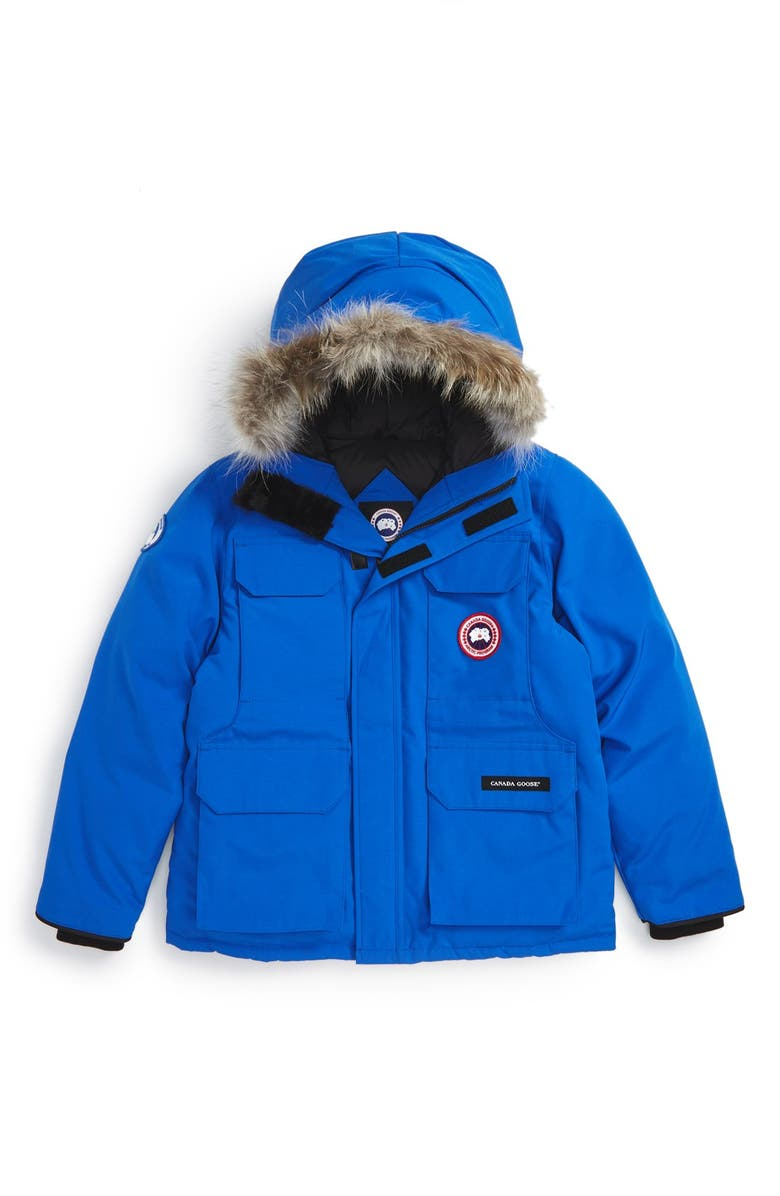 CANADA GOOSE 'PBI Expedition' Waterproof Down Parka with Genuine Coyote Fur Trim, Main, color, ROYAL BLUE